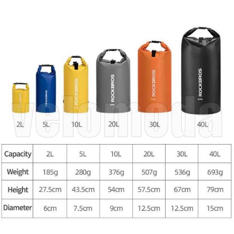 Сумка-рюкзак водонепроницаемая Rockbros Dry Bag желтая (30л, 40л)
