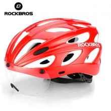 Велошлем Rockbros TT-16 с магнитной линзой (Красный с белым)
