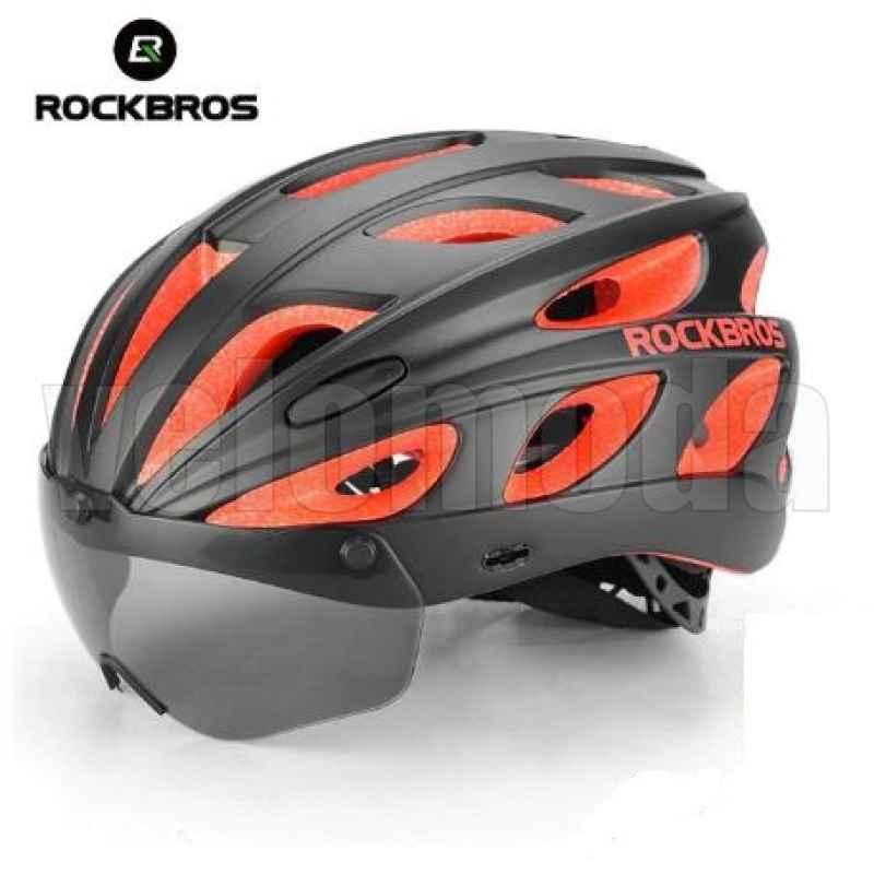 Велошлем Rockbros TT-16 с магнитной линзой (Черный с красным)