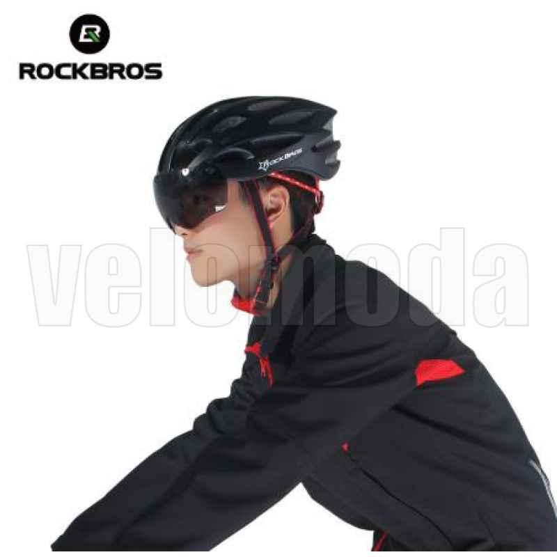 Велошлем Rockbros WT-027-S с магнитной линзой (Черный матовый)