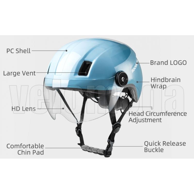 Велошлем с визором Rockbros MT-095BK (Черный)