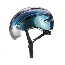 Велошлем с визором Rockbros WT-018S-CP (Синий перламутр)
