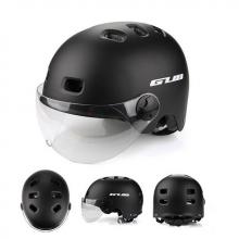 Велошлем GUB TS-6 матовый с визором (Чёрный)