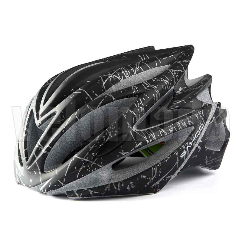 Велошлем Sahoo Matt Blace 91588-A (матовый черный с серым)
