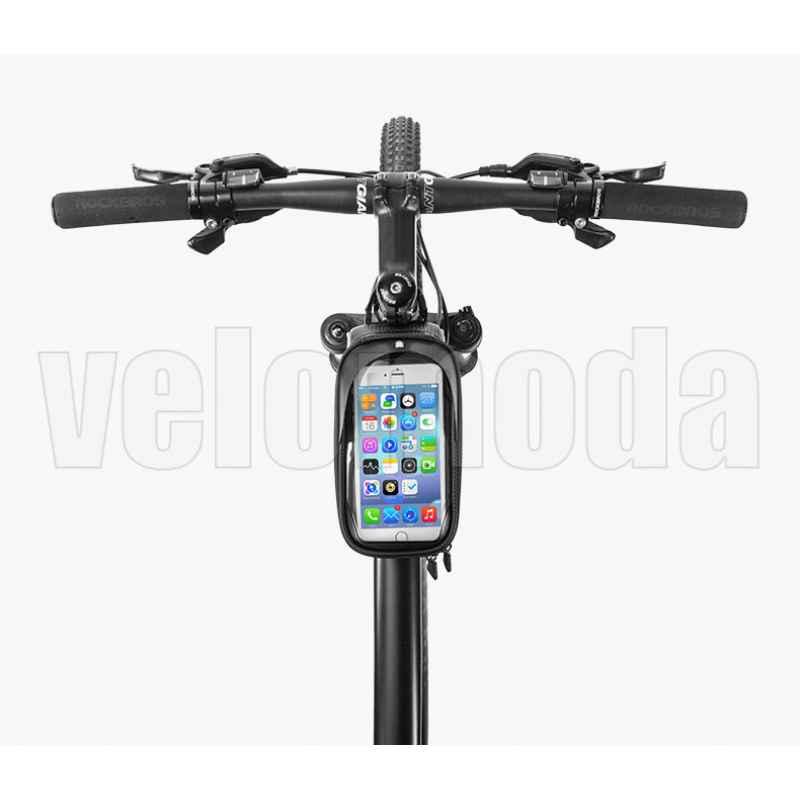 Велосумка с держателем для телефона на раму RockBros RB-017BK (черный карбон)