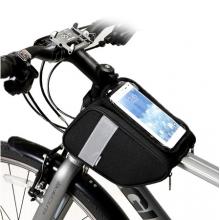 Велосумка с держателем для телефона на раму Sahoo 122005 двойная до 6.0 дюймов (черная)