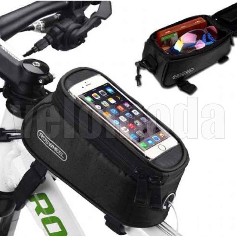 Велосумка с отделением для телефона на раму Roswheel 12496M до 5,0 дюймов (Черная)
