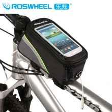 Велосумка с держателем для телефона на раму Roswheel 12496L-G5 до 6 дюймов (черная с зелёным)
