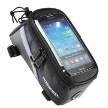 Велосумка с держателем для телефона на раму Roswheel 12496L-B5 до 6 дюймов (черная с синим)