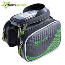 Велосумка с держателем для телефона на раму RockBros ZH-009  двойная до 5.8 дюймов (черный-зеленый)