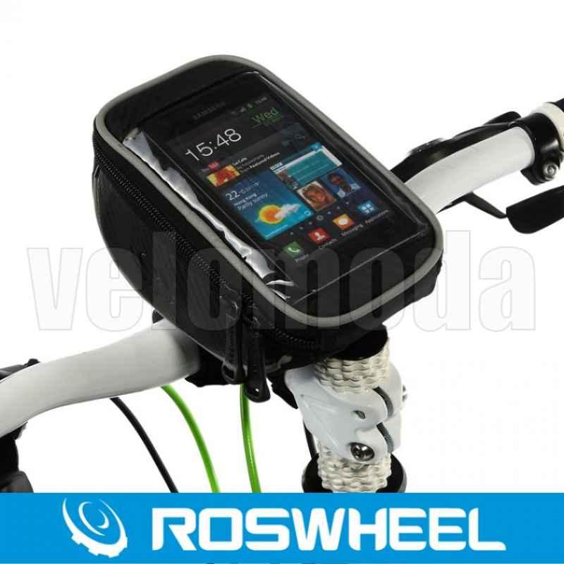Велосумка на руль с держателем для телефона Roswheel (черная с серым)