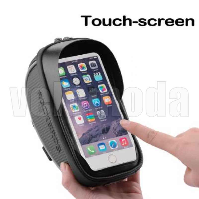 """Сумка для телефона 6.0"""" с креплением на руль Rockbros 010 (черный-карбон)"""