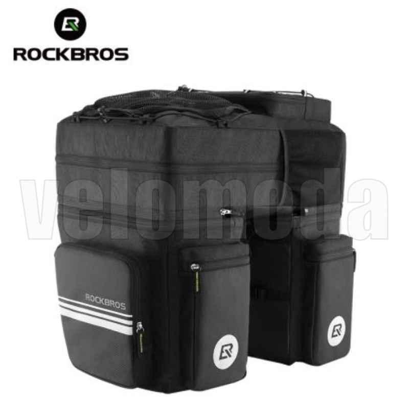 Велосумка штаны на багажник 48л Rockbros A8BK 3в1 (черная)