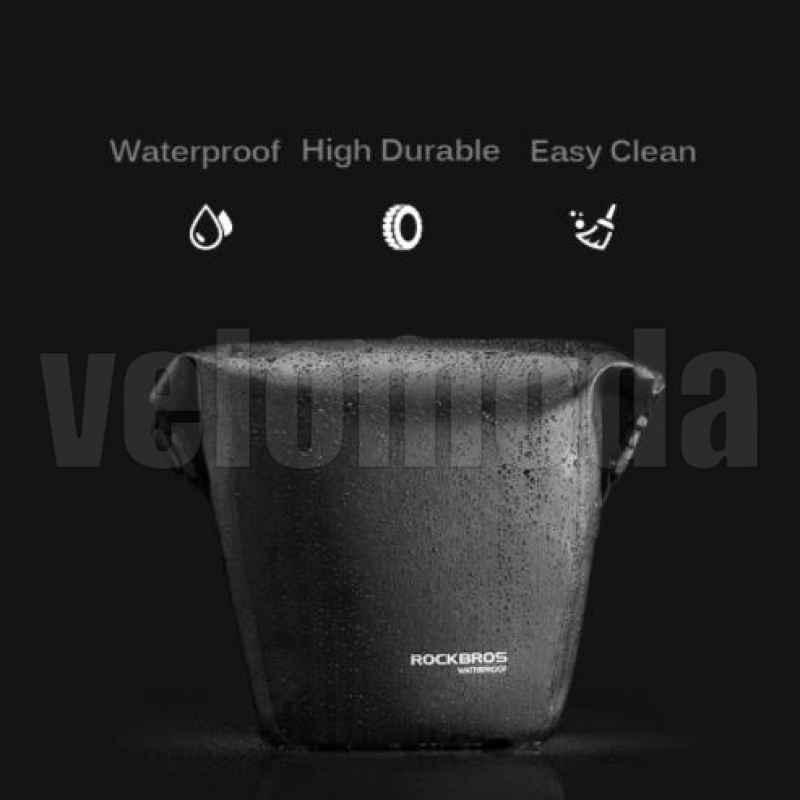 Сумка на багажник 10л Rockbros AS-003 водонепроницаемая (черная, 1шт)