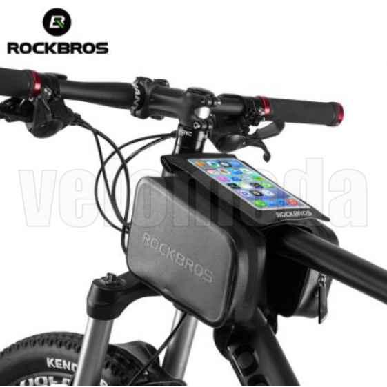 """Велосумка с чехлом для телефона на раму RockBros AS-006 двойная до 6.0"""" водонепроницаемая"""