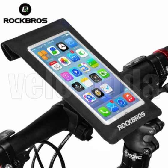 """Универсальный чехол для телефона до 6"""" с креплением на руль Rockbros AS-009 (черный)"""
