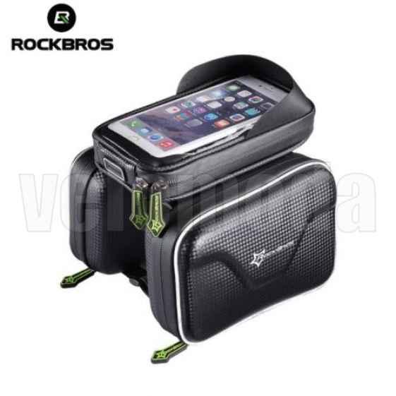 Велосумка с держателем для телефона на раму RockBros B3 двойная до 6.0 дюймов (черная)