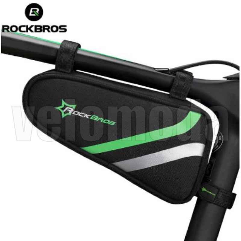 Велосумка под раму (треугольник) Rockbros B7 (черный-зеленый)