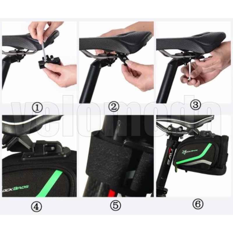 Велосумка под седло RockBros C2 повышенной емкости, быстросъемная (черный-зеленый)