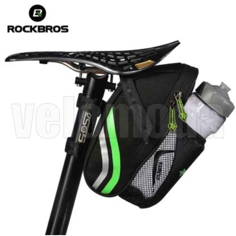 Велосумка под седло RockBros C7 с отделением для фляги (черный-зеленый)