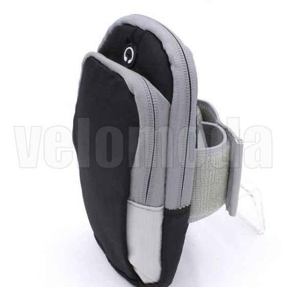 Спортивная сумочка для бега на руку или на ногу (черный с серым)