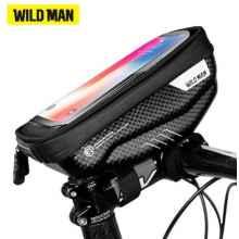 """Сумка для телефона на руль Wild Man 4.7- 6.5"""" (черный-карбон)"""