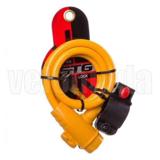 Замок для велосипеда STG X87808 10*1000 мм автоматический с креплением (Желтый)