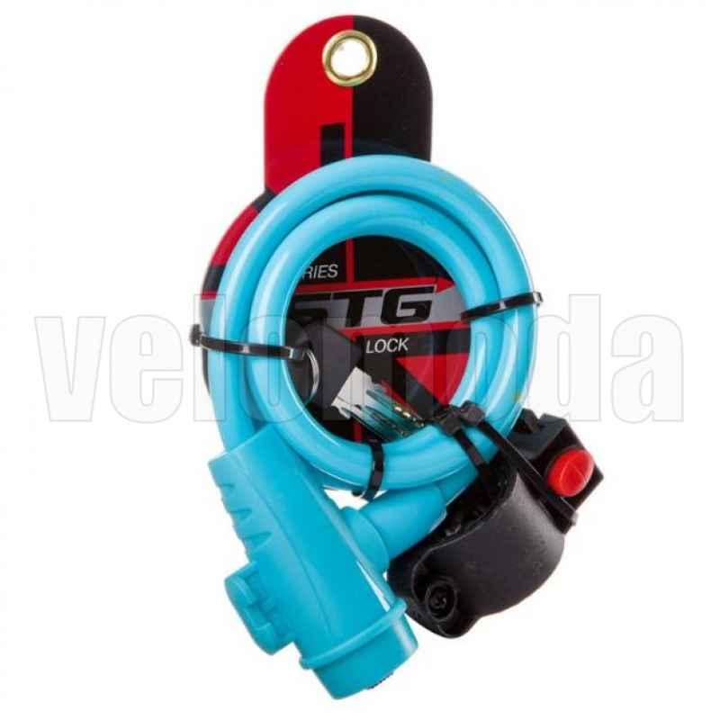 Замок для велосипеда STG X87808 10*1000 мм автоматический с креплением (Голубой)