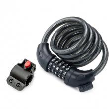 Велозамок Rockbros L50115BK тросовый, кодовый с креплением (Чёрный)