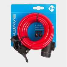 Замок велосипедный M-Wave 10*1800 мм, автоматический (Красный)