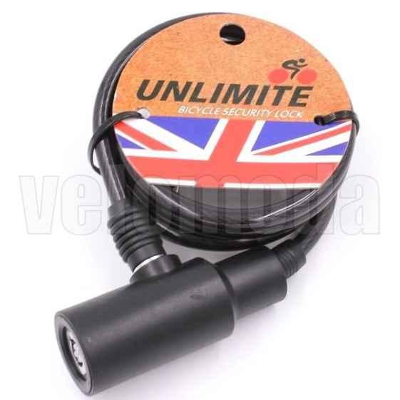 Велозамок Unlimite 102.203 автоматический, круглый ключ 8*1200mm