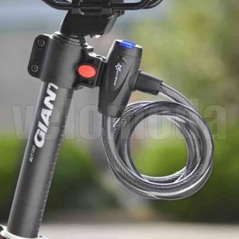 Велозамок Rockbros L588 тросовый, автоматический с креплением (черный)