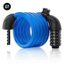 Велозамок Rockbros L50115 тросовый, кодовый с креплением (синий)