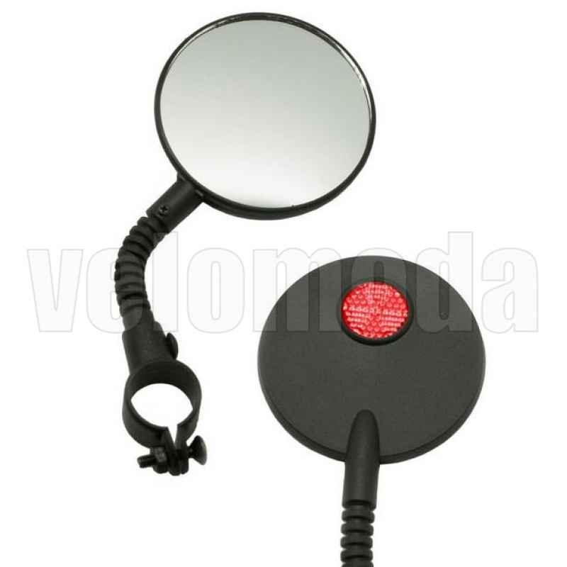 Зеркало для велосипеда STG JY-3 на гибкой ножке с красным катафотом