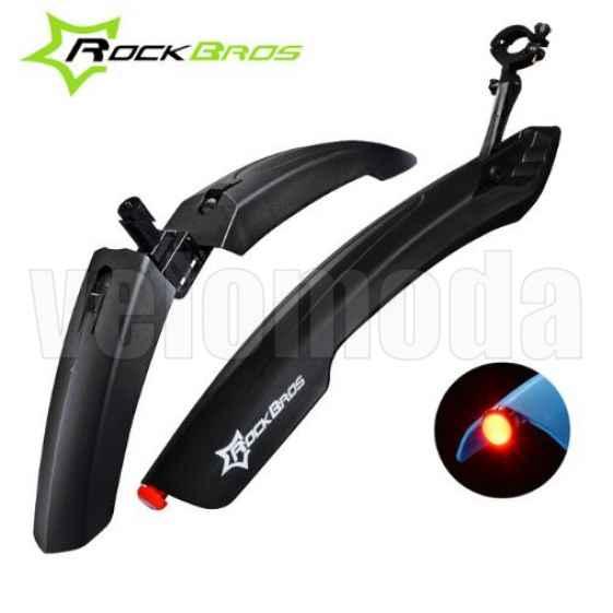 Щитки для велосипеда широкие с габаритом Rockbros DNB-8001 (черный)