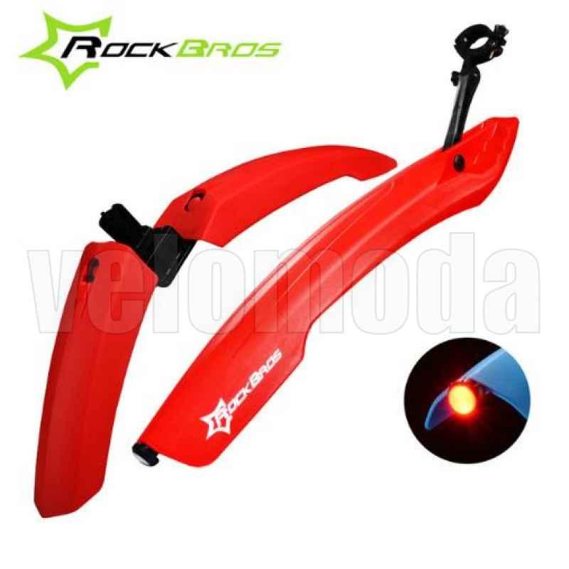 Щитки для велосипеда широкие с габаритом Rockbros DNB-8001 (красный)