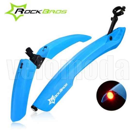 Щитки для велосипеда широкие с габаритом Rockbros DNB-8001 (синий)