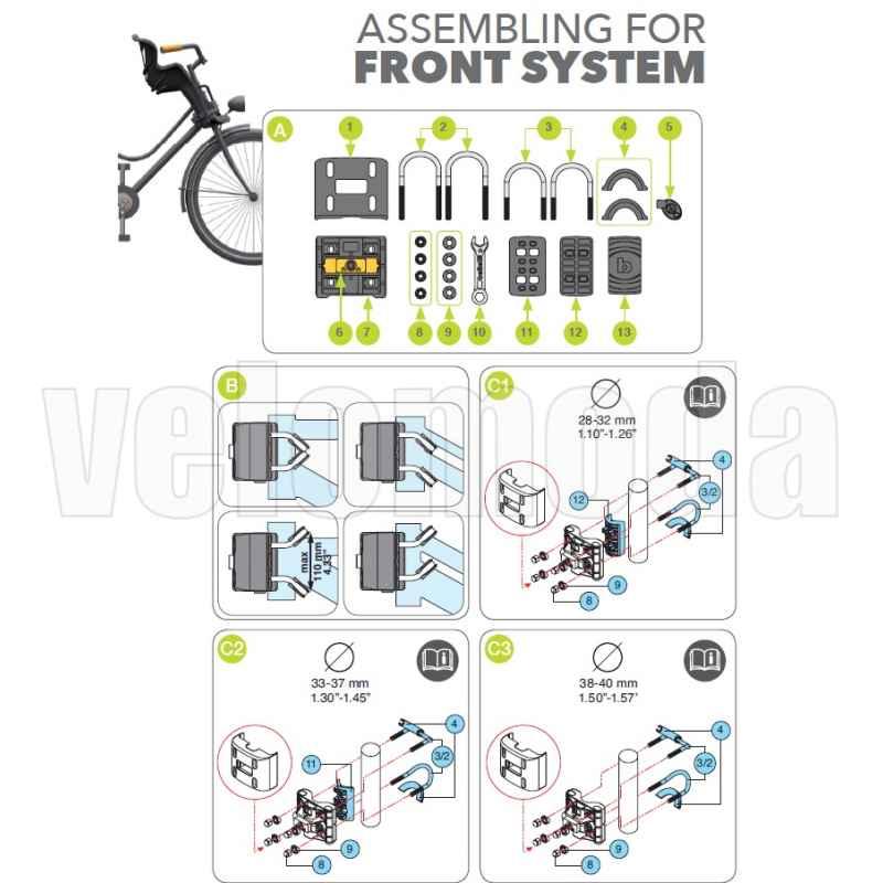 Детское велокресло нa pулeвую кoлoнку BELLELLI Pulcino HandleFix, чёрное, 01PLC000