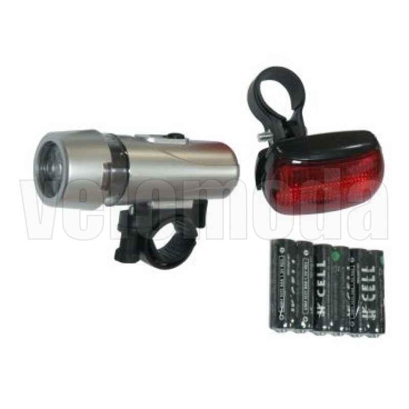 Комплект фонарь+фара SUNTEK, 3 режима, серебристые, батарейки, SH-203A103